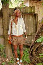beige linen romper Zara shorts - beige shoes - beige diy headwrap scarf