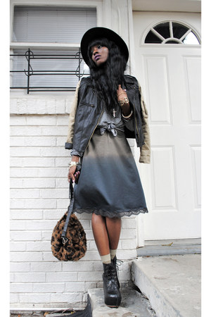 black boots - army green dress - black vintage hat - black jacket - black purse