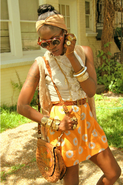 orange dress - brown purse - beige scarf - gold accessories - orange sunglasses