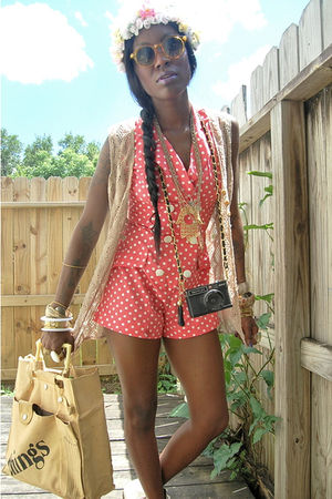 pink shorts - beige vest - beige purse - white accessories - yellow sunglasses -