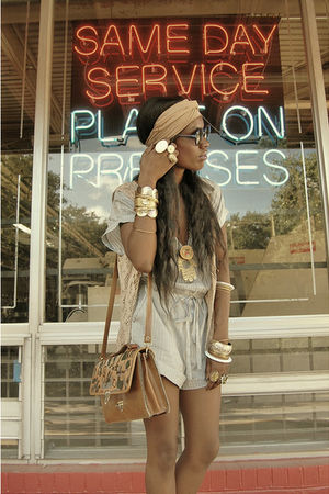 beige bag - beige diy headwrap scarf - blue ModCloth Conductor romper shorts