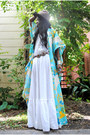 White-vintage-maxi-dress-dark-brown-vintage-hat-aquamarine-jacket