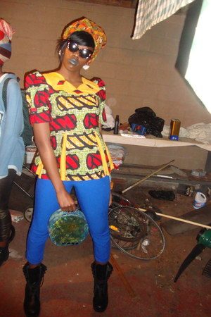 african thrifted shirt - Military base boots - kente cloth scarf