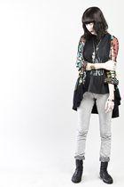 black vintage jacket - black vintage t-shirt - silver Cheap Monday jeans - Urban