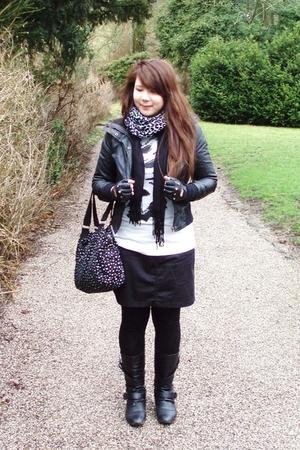 black Pimkie coat - Kiabi shirt - black Kiabi skirt - La halle boots - white Pim