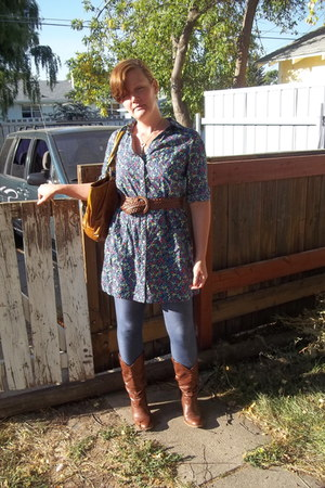 navy Old Navy leggings - brown Target boots - blue Old Navy dress