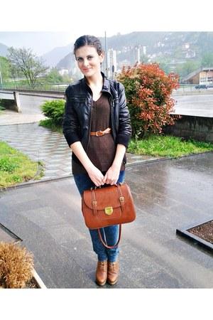 Zara shoes - jeans - black Urban jacket - dark brown Zara sweater