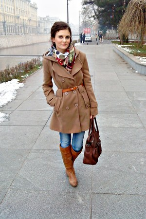 scarf - burnt orange City Fashion boots - camel Orsay coat - New Yorker jeans