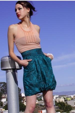 pink vintage blouse - white Vendima bracelet - green EtcPantoufle skirt