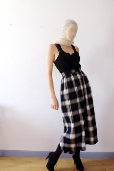 Tibetan cashmere shawl scarf - Wet Seal top - Issey Miyake skirt - H&M tights -