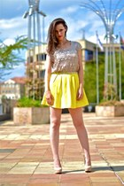 nude Aldo heels - yellow Forever New skirt - beige Forever New top