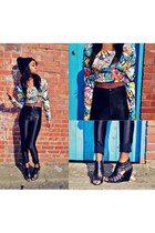 cartoon thrift top - disco Primark pants - River Island wedges