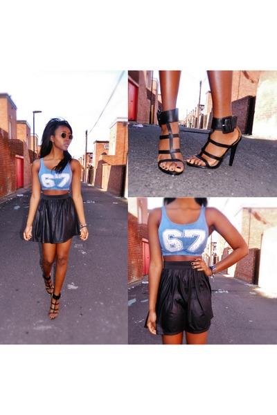 wet look Missguided skirt - crop Primark top - anckle strap Primark sandals