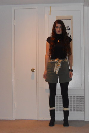 army green shorts - black boots - black shirt - black tights - off white socks