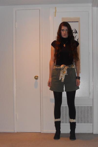 Army Green Shorts, Black Boots, Black