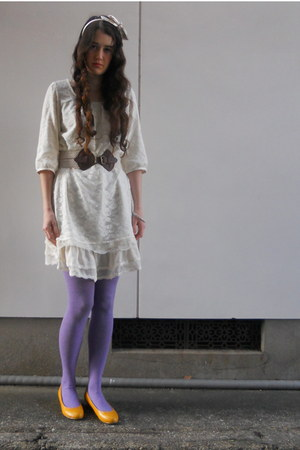 white Colza dress - camel H&amp;M coat - amethyst Mossimo tights - off white bow hea