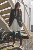 brown boots - ivory Colza dress - teal tights - charcoal gray Forever 21 cardiga