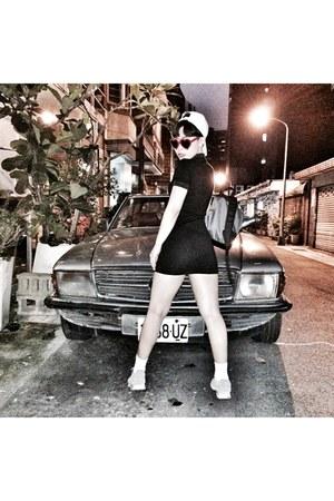 black Zara dress - white Adidas hat