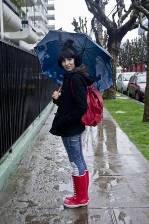 rain boots boots - coat - Fes jeans - boulevard bag - accessories