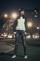 navy destroyer jeans Topshop jeans - white sailor design alfred dunner shirt
