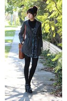 black heels - charcoal gray coat