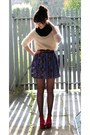 Eggshell-top-brown-belt-deep-purple-skirt-red-wedges