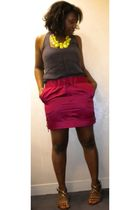 yellow necklace Charlotte Russe accessories - brown gladiators Payless shoes