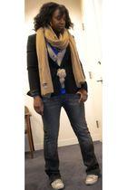 black Armani Exchange blazer - beige scarf - beige Charlotte Ronson cardigan - b