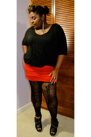leather Body Central boots - Wet Seal skirt - cotton Old Navy top