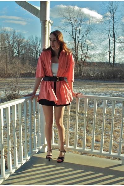 white shirt - black shoes - black skirt - black belt - pink top