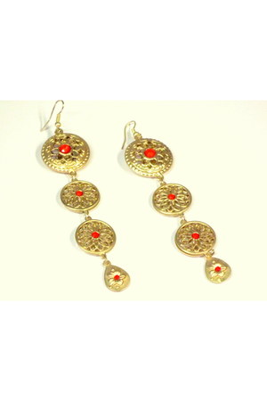 carrot orange goldtone coral My Alexas Store earrings