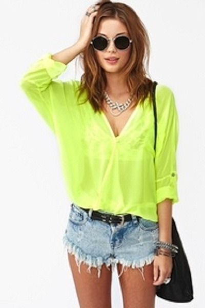 Chartreuse Tops, Black Bags, Light Blue Shorts, Silver Necklaces ...