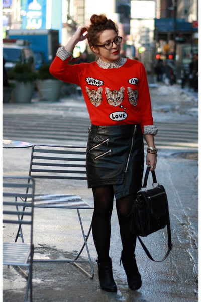 red cat Target sweater - black DKNY bag - black H&M skirt