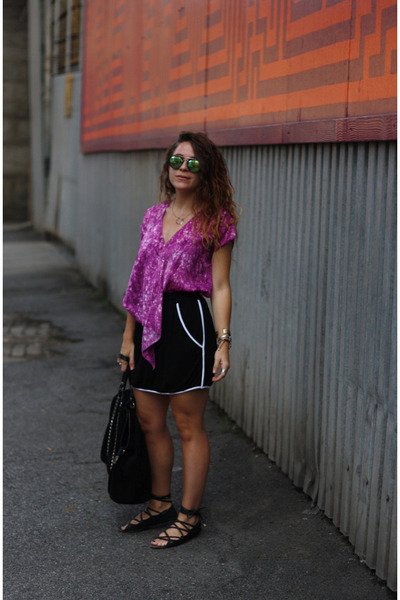 black Zara bag - turquoise blue Aldo sunglasses - black Capelli skirt