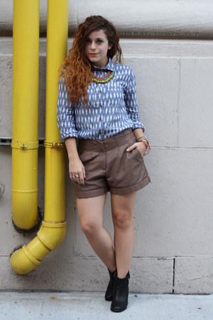 blue Urban Outfitters shirt - black Guess boots - brown Lauren Conrad shorts