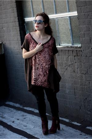 crimson Boutique 9 boots - dark brown All Saints shirt - black vintage pants