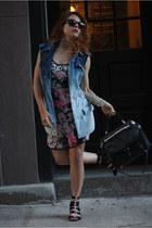 blue Urban Outfitters vest - magenta Zac Posen dress - black DKNY purse