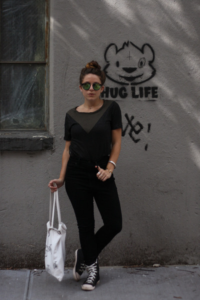 black Urban Outfitters pants - black Aldo glasses