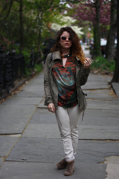 brown LuLus boots - army green H&M coat - peach Forever 21 sunglasses