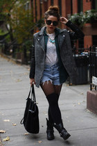 black H&M coat - white Brooklyn Flea Market shirt - black Zara bag