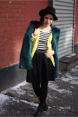 teal fur Forever 21 vest - yellow Old Navy cardigan - black xhilaration skirt