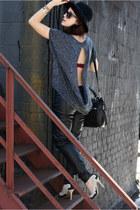 charcoal gray Alternative Apparrel shirt - black leather LC Lauren Conrad pants
