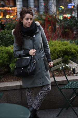 gray wool rag & bone coat - black leather DKNY bag