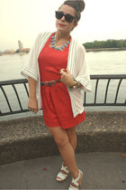 white Sugarlips cardigan - white Steve Madden wedges - red vintage romper