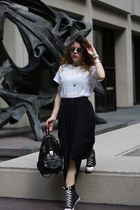 black vintage skirt - white alternative apparel shirt