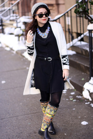 black Urban Outfitters boots - black Zamrie dress - ivory H&M sweater