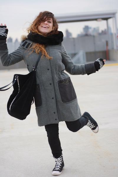 black Zara bag - gray rag & bone coat - black coach sneakers