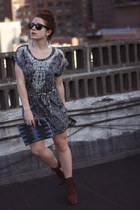 crimson Boutique 9 boots - dark gray H&M dress - blue cutch Brianne Faye purse