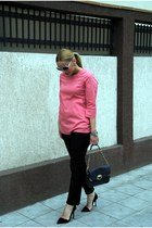 navy Zara bag - ivory H&M sunglasses - pink H&M blouse - black Zara pants - blac