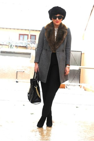 vintage hat - Giuseppe Zanotti boots - French Connection coat - Michael Kors bag